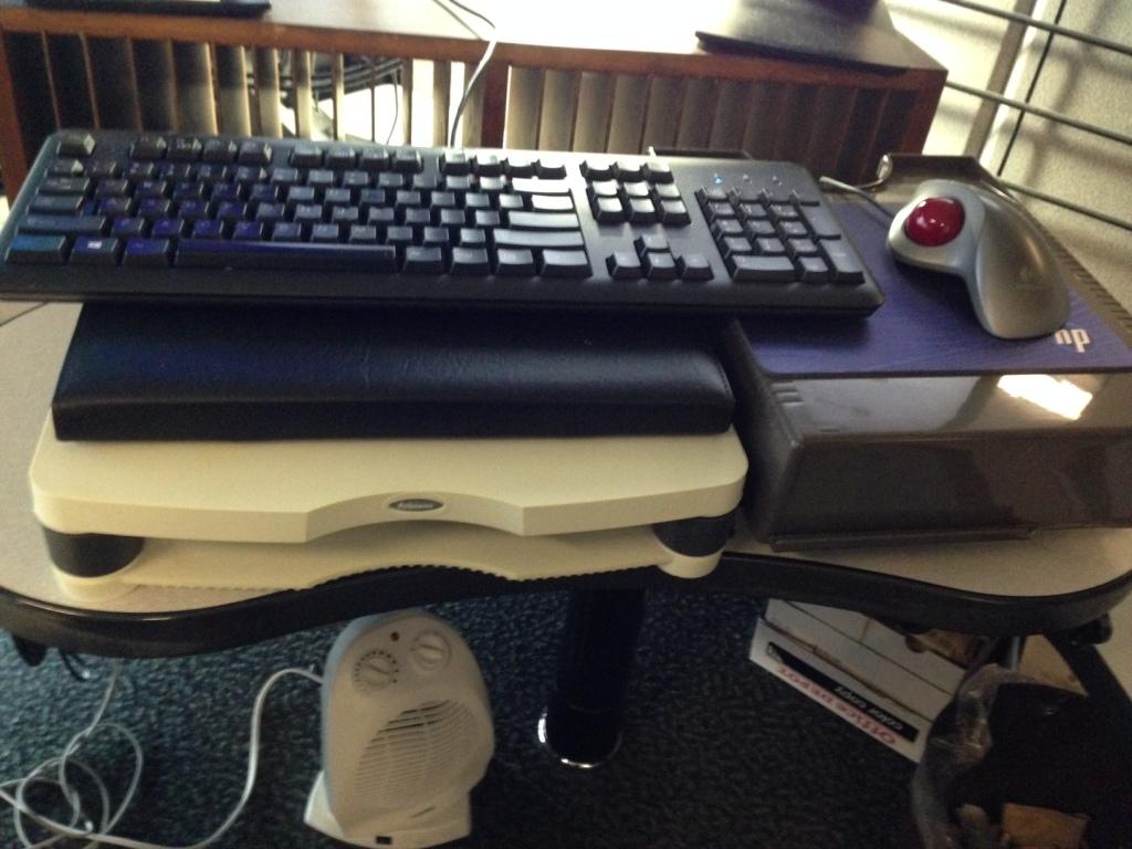 My attempt at an ergonomic keyboard setup.